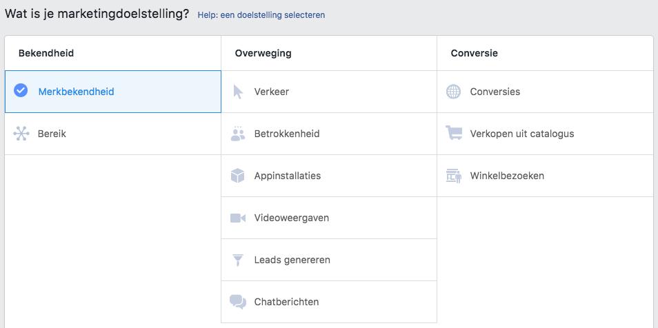 Facebook campagne doelstellingen